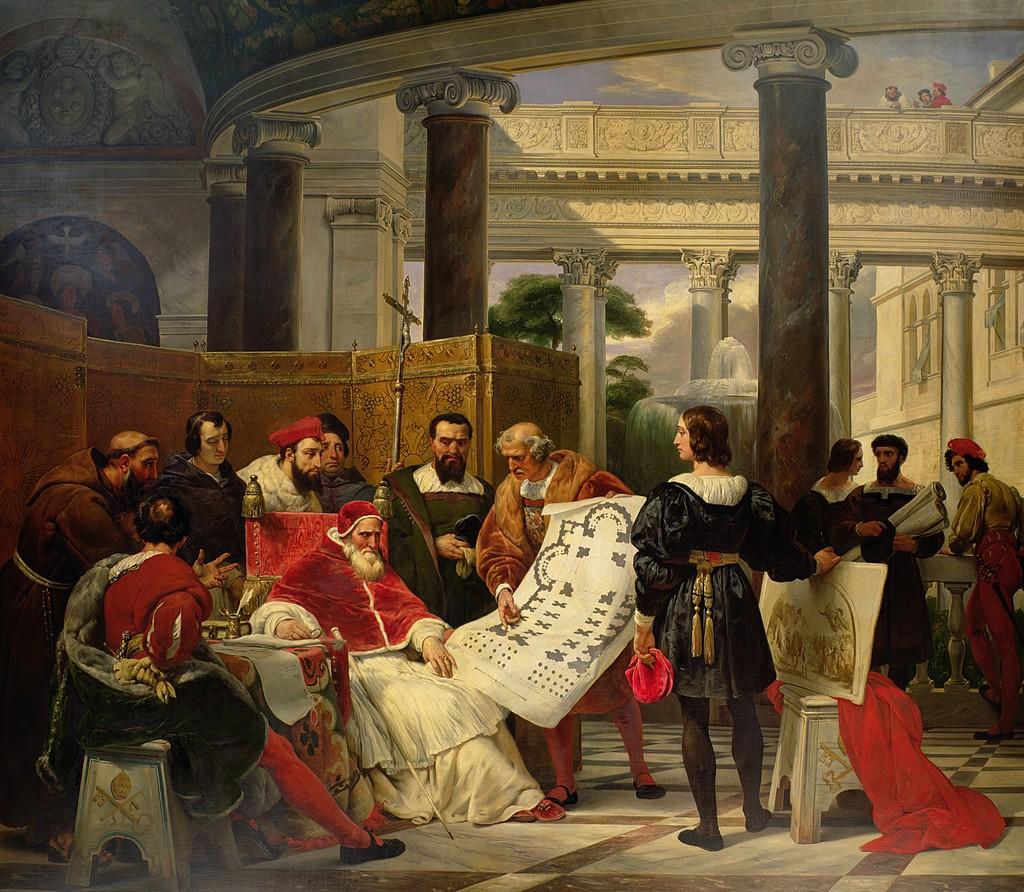 Jules II ordonnant les travaux du Vatican et de saint Pierre à Bramante, Michel Ange et Raphaël
