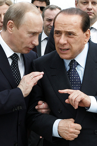 Berlusconi with the Russian President Vladimir Putin in Italy, 2008 Vladimir Putin in Italy 17-18 April 2008-4.jpg