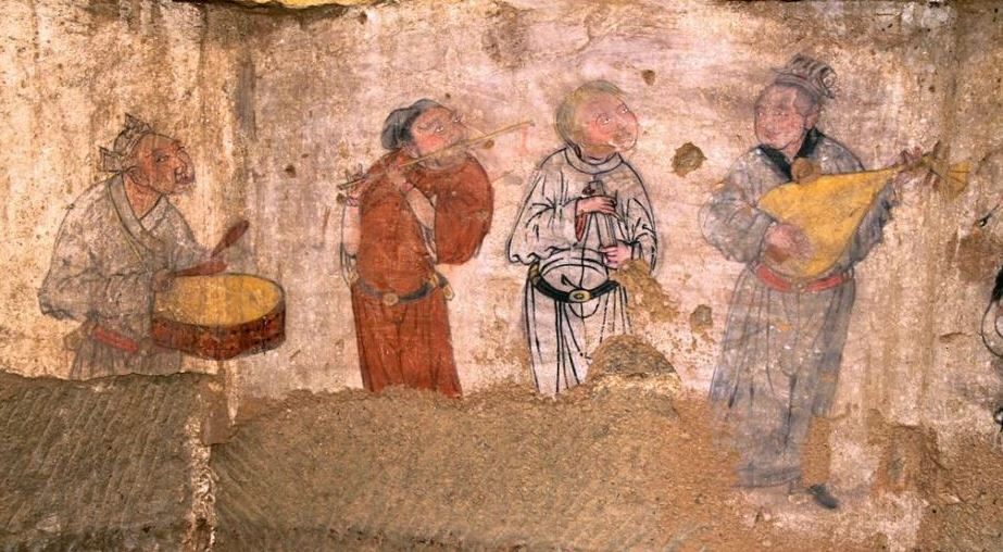 File y en dynasty mural painting from a tomb in h ng shan for Dynasty mural works