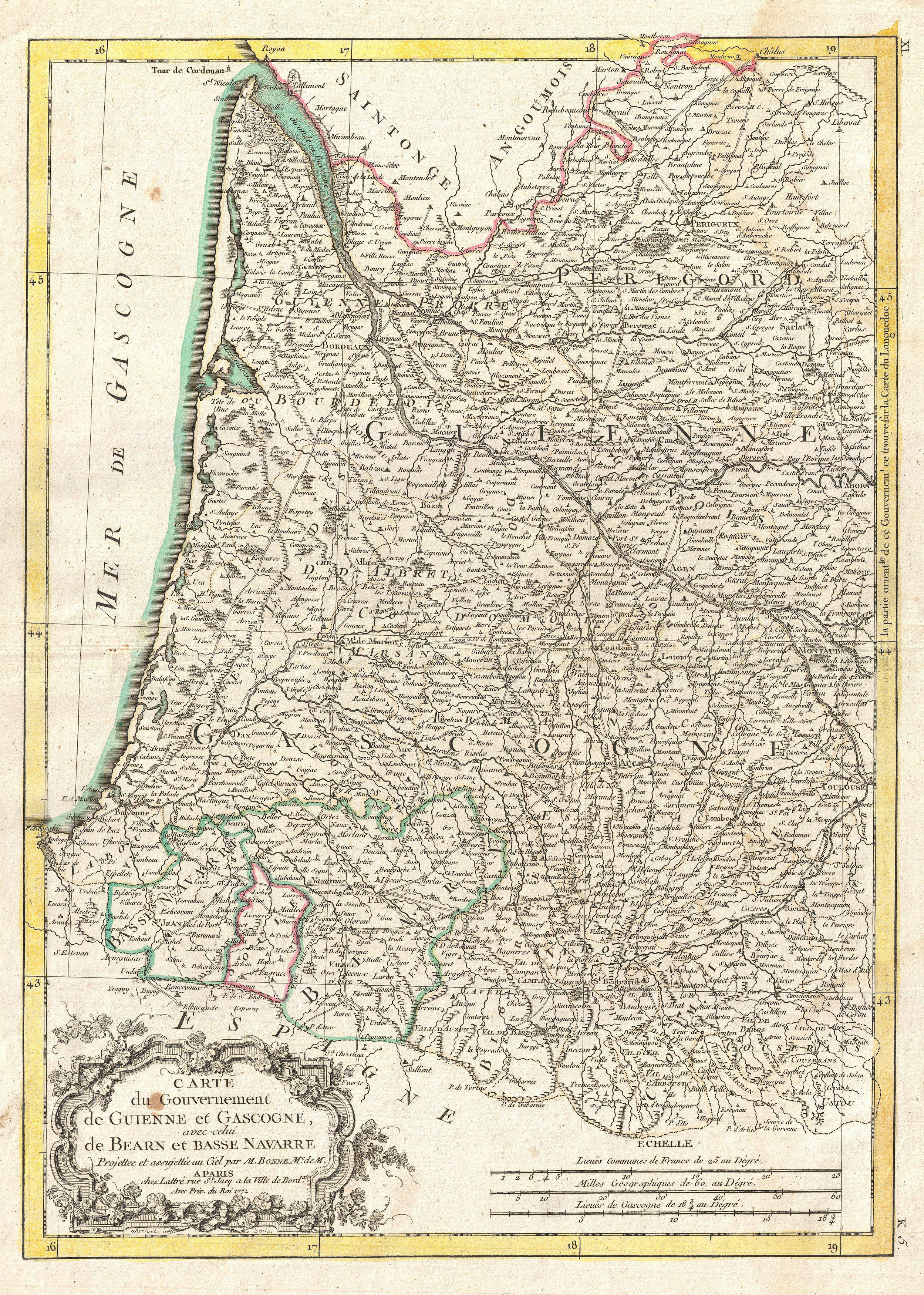 Map Of France Gascony.File 1771 Bonne Map Of Guyenne And Gascony France Geographicus