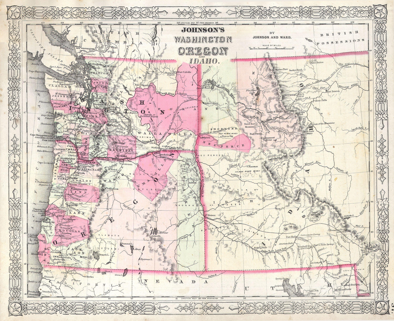 File1864 Johnson Map Of Washington Oregon  Idaho