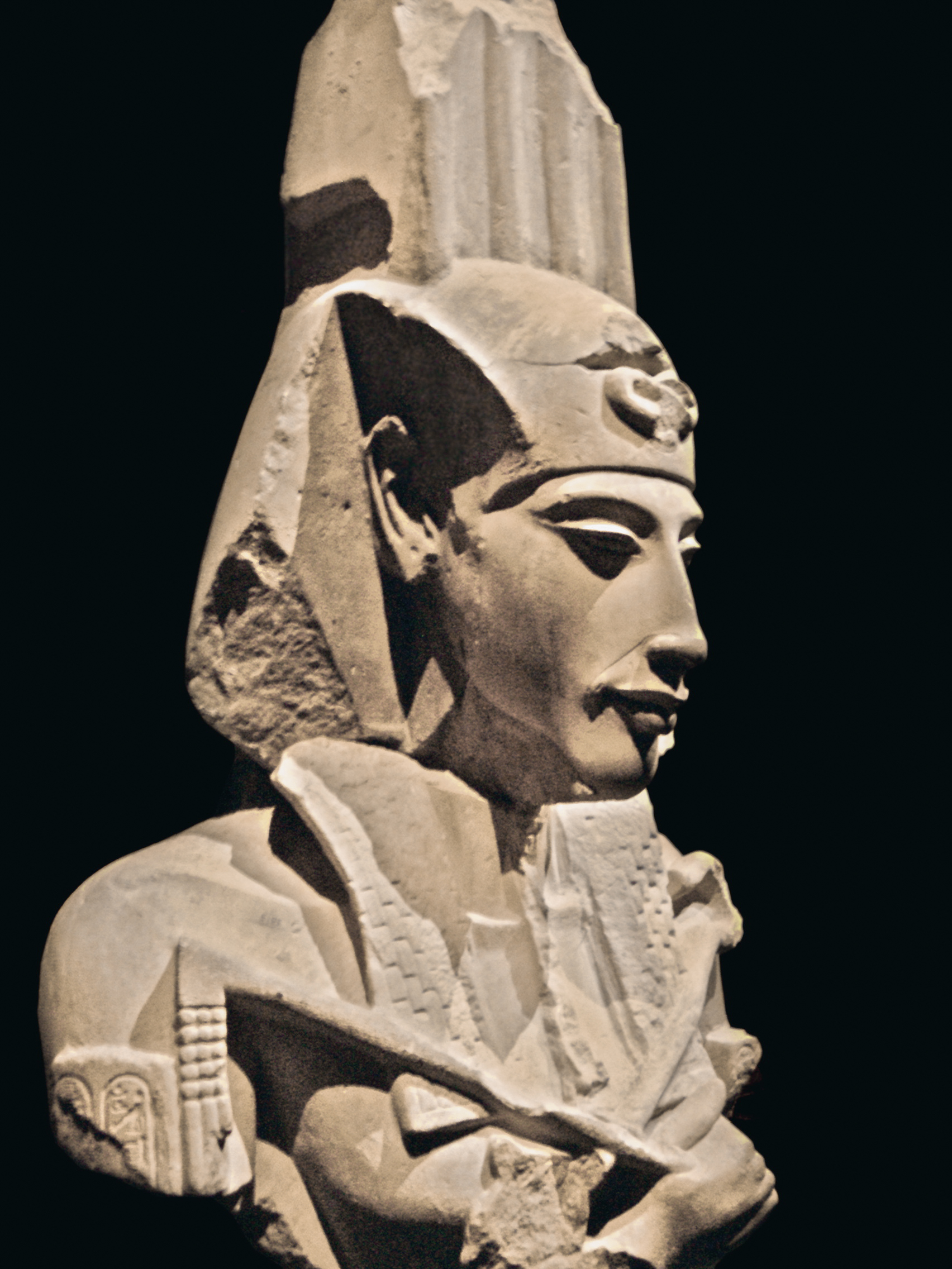 stone carving of  Faraoh Akhenaten
