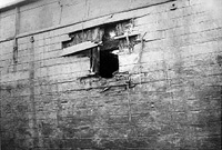 The hole in the ship Amalthea after the bomb p...