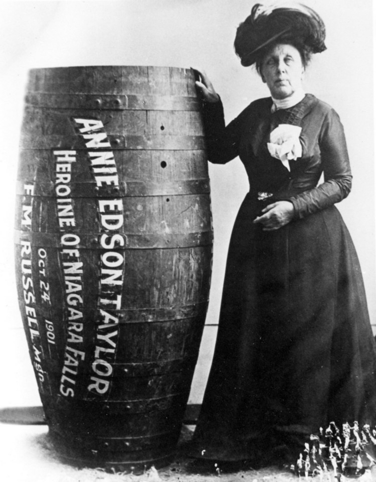 Annie Edson Taylor, first person to survive a trip over Niagara Falls in a barrel on her 63rd birthday, October 24, 1901.