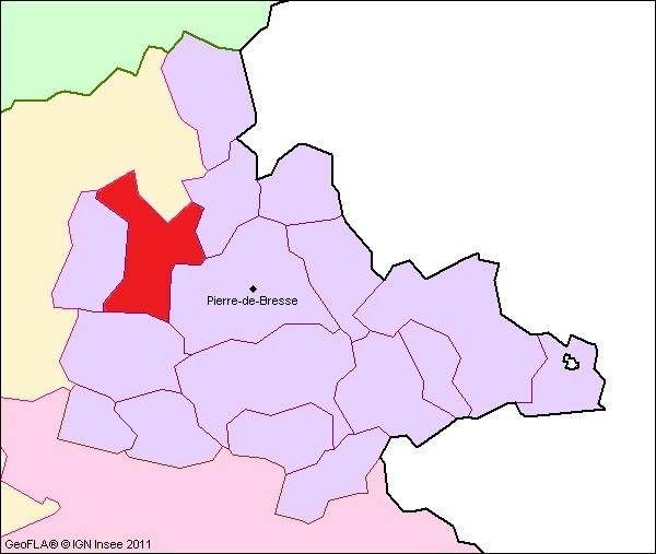 Lage der Gemeinde Charette-Varennes im Kanton Pierre-de-Bresse
