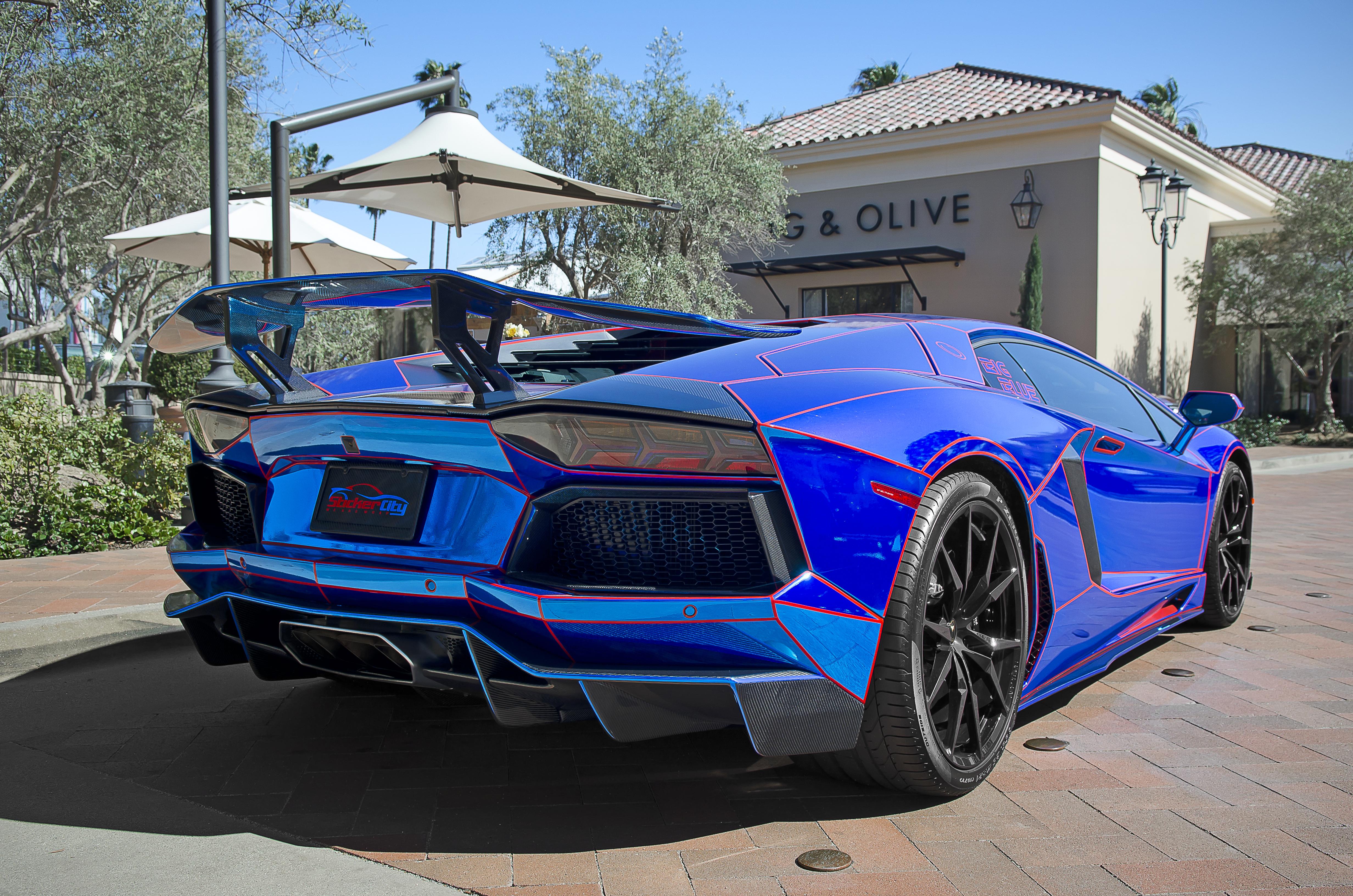 filechrome blue lamborghini aventador aka big blue 14560290813jpg - Lamborghini Aventador Blue Chrome
