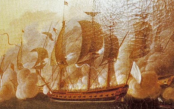 L'Hermione au combat naval de Louisbourg en 1781.