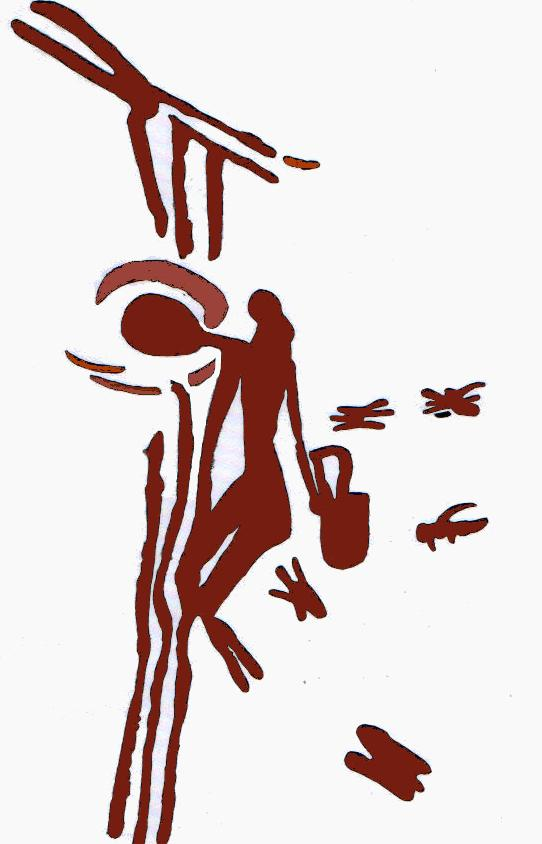 Mesolithic rock painting of a honey hunter harvesting honey and wax from a bees nest in a tree. At Cuevas de la Araña en Bicorp. (Dating around 8000 to 6000 BC)