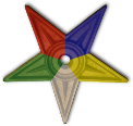 Five-pointed star with points of different colors