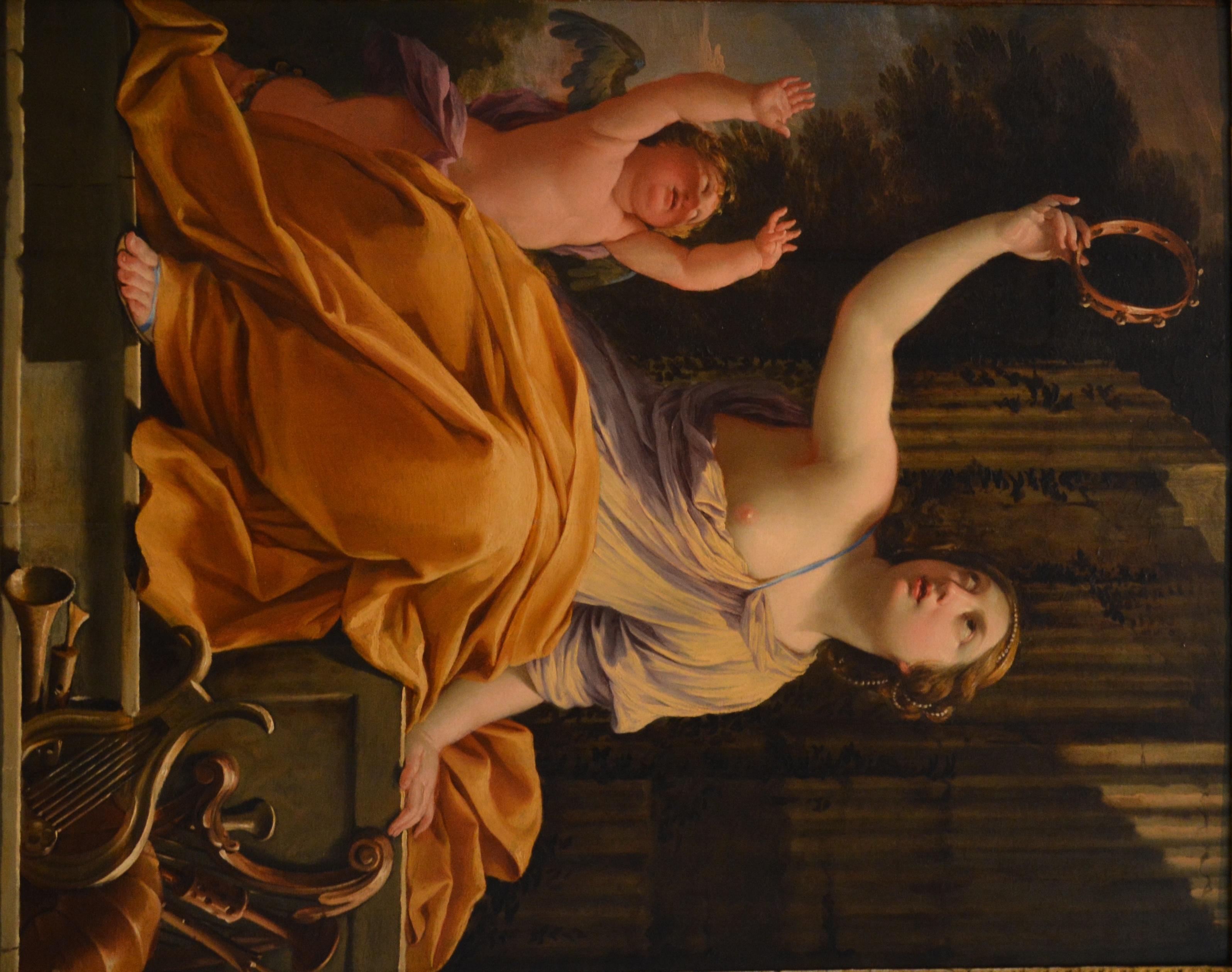Érato- óleo sobre carvalho, de Simon Vouet