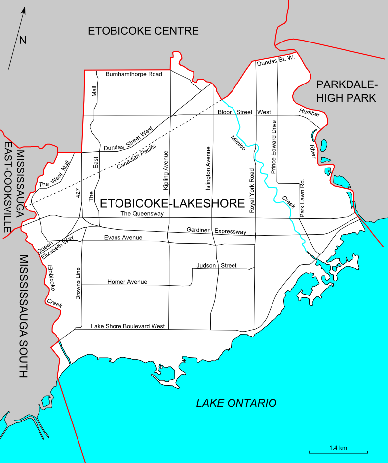 Map Etobicoke Ontario Canada File:Etobicoke Lakeshore (riding map).png   Wikipedia