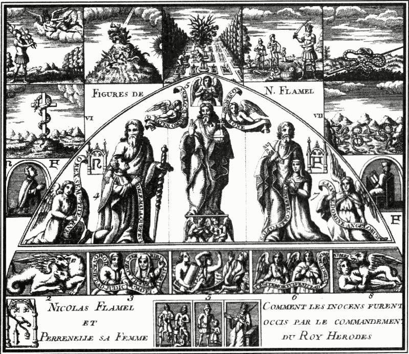 "An image of the mysterious alchemical figures which Nicholas Flamel caused to be carved on his tomb. Reproduced in ""Witchcraft, Magic, and Alchemy"" by Grillot de Givry from an old engraving. [Public domain]"