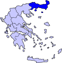 Location of Makedonia Wétan lan Trasia Periphery in Greece