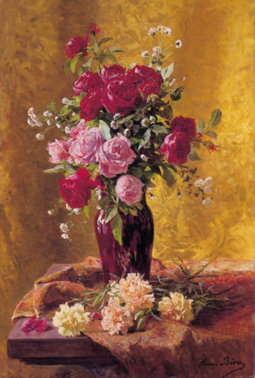 File Henri Biva A Vase Of Roses With Carnations On A