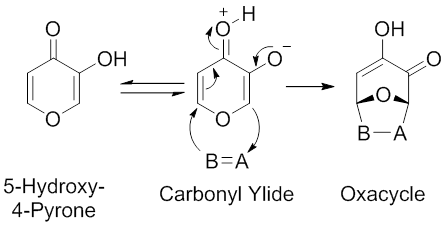 Scheme 4. Intramolecular Hydrogen Transfer-Mediated Synthesis of Carbonyl Ylides from 5-Hydroxy-4-Pyrones. Modified from Garst, M. E.; McBride, B. J.; Douglass III, J. G. Tetrahedron Lett. 1983, 24, 1675.
