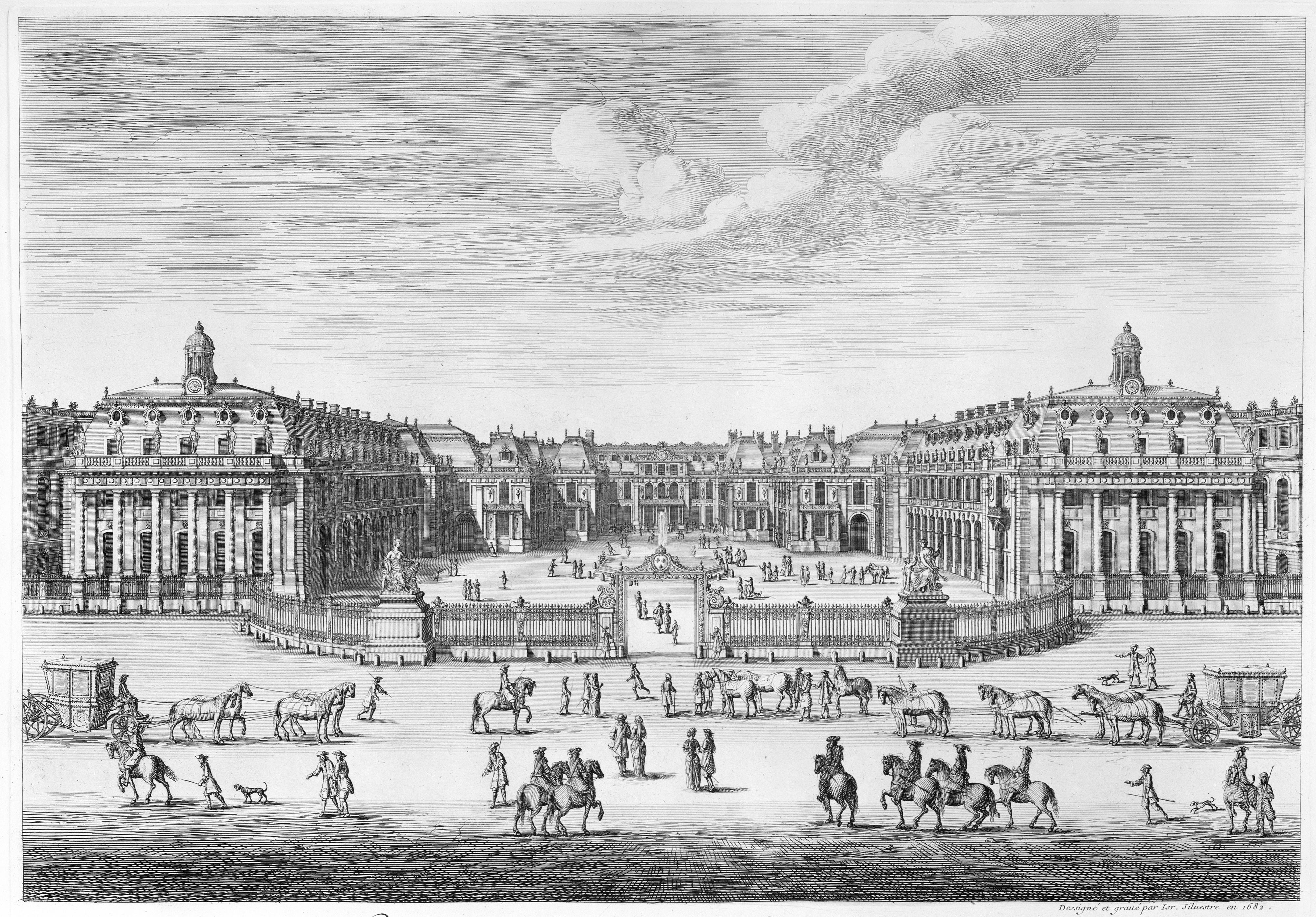 File:Israel Silvestre, Château de Versailles seen from the forecourt, 1682 .jpg