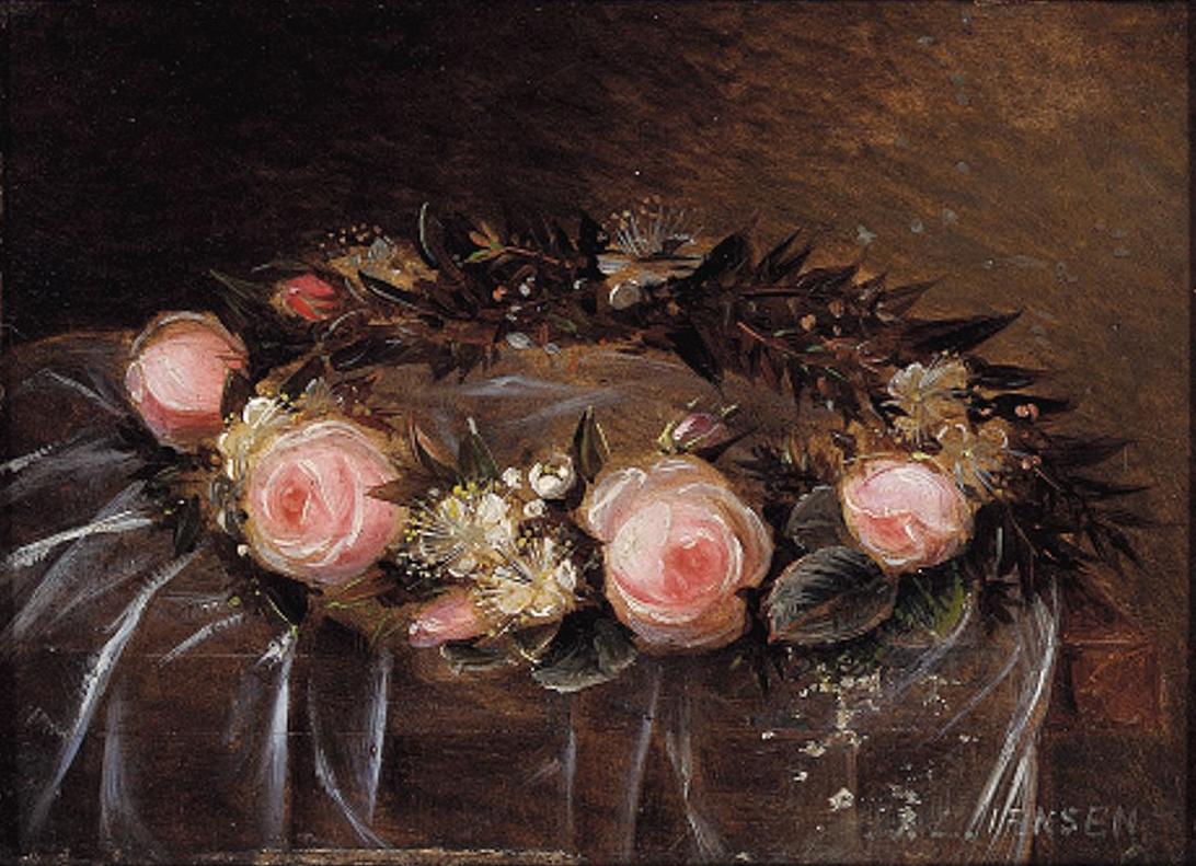Johan Laurentz Jensen - Brudekrans bundet af lyserøde roser og hvide myrter.png