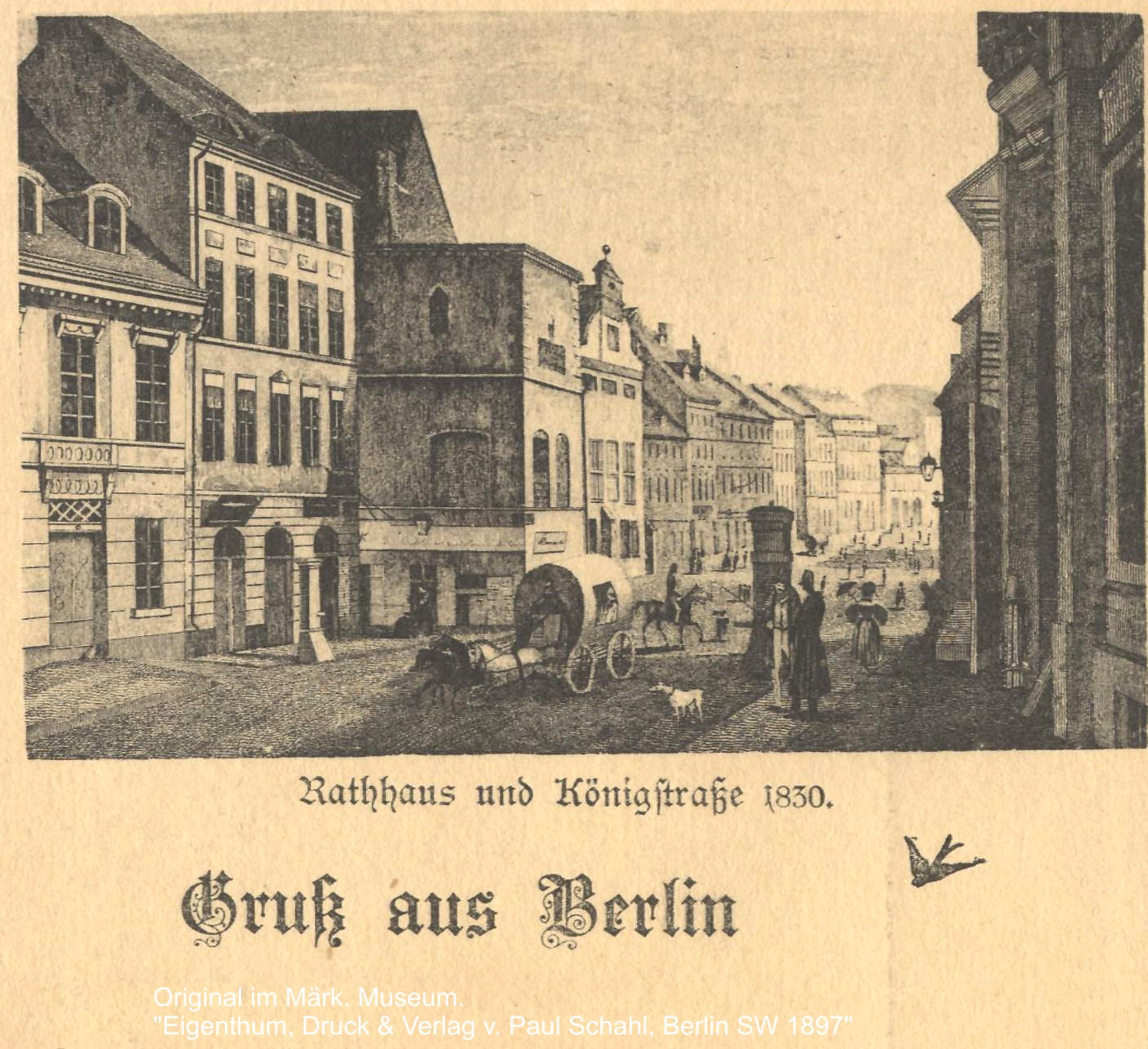 Ehemalige Königstraße (heutige Rathausstraße) mit dem alten Berliner Rathaus
