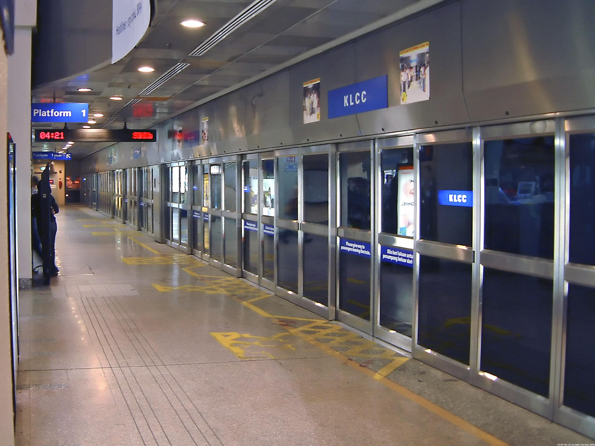 Platform of the KLCC LRT station along the Kelana Jaya Line (Putra LRT) in Kuala Lumpur