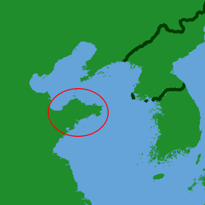 map with Shandong peninsula circled in red.