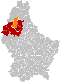 Map showing, in orange, the Wiltz commune