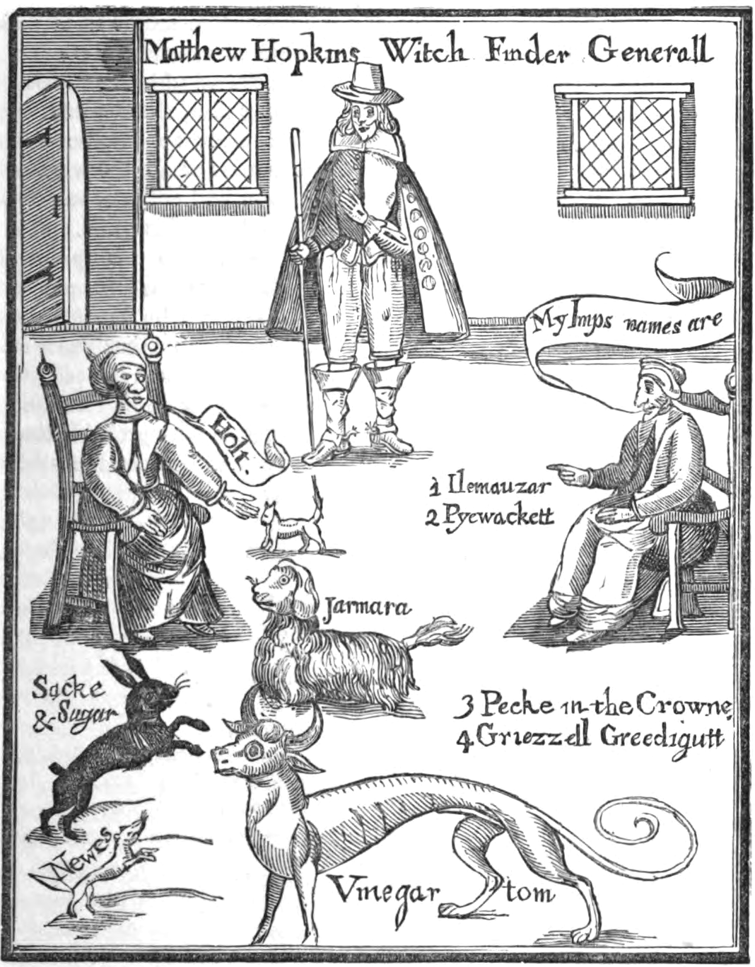 Frontispiece from Matthew Hopkins' The Discovery of Witches (1647)