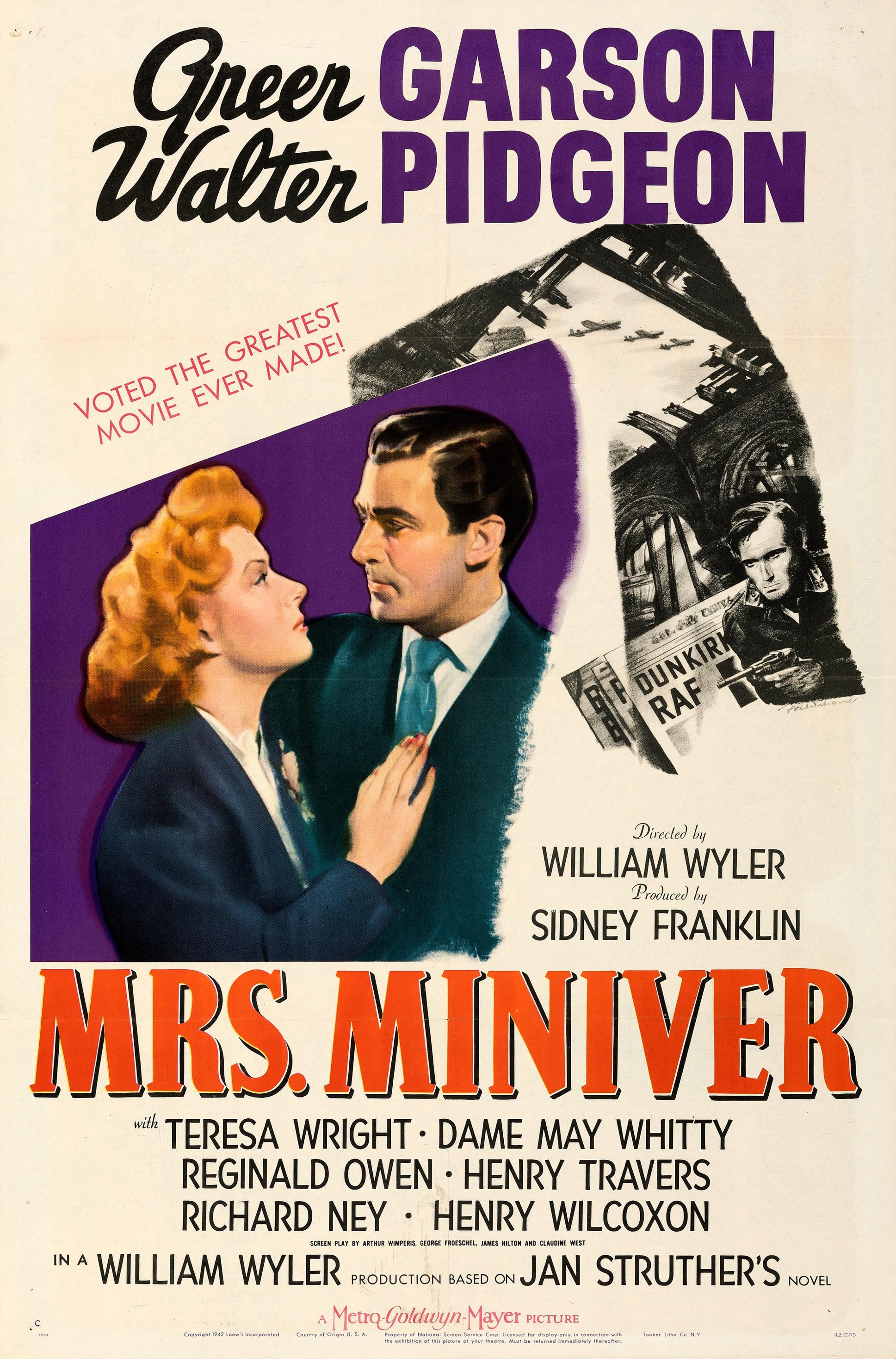 Mrs Miniver Greer Garson vintage movie poster