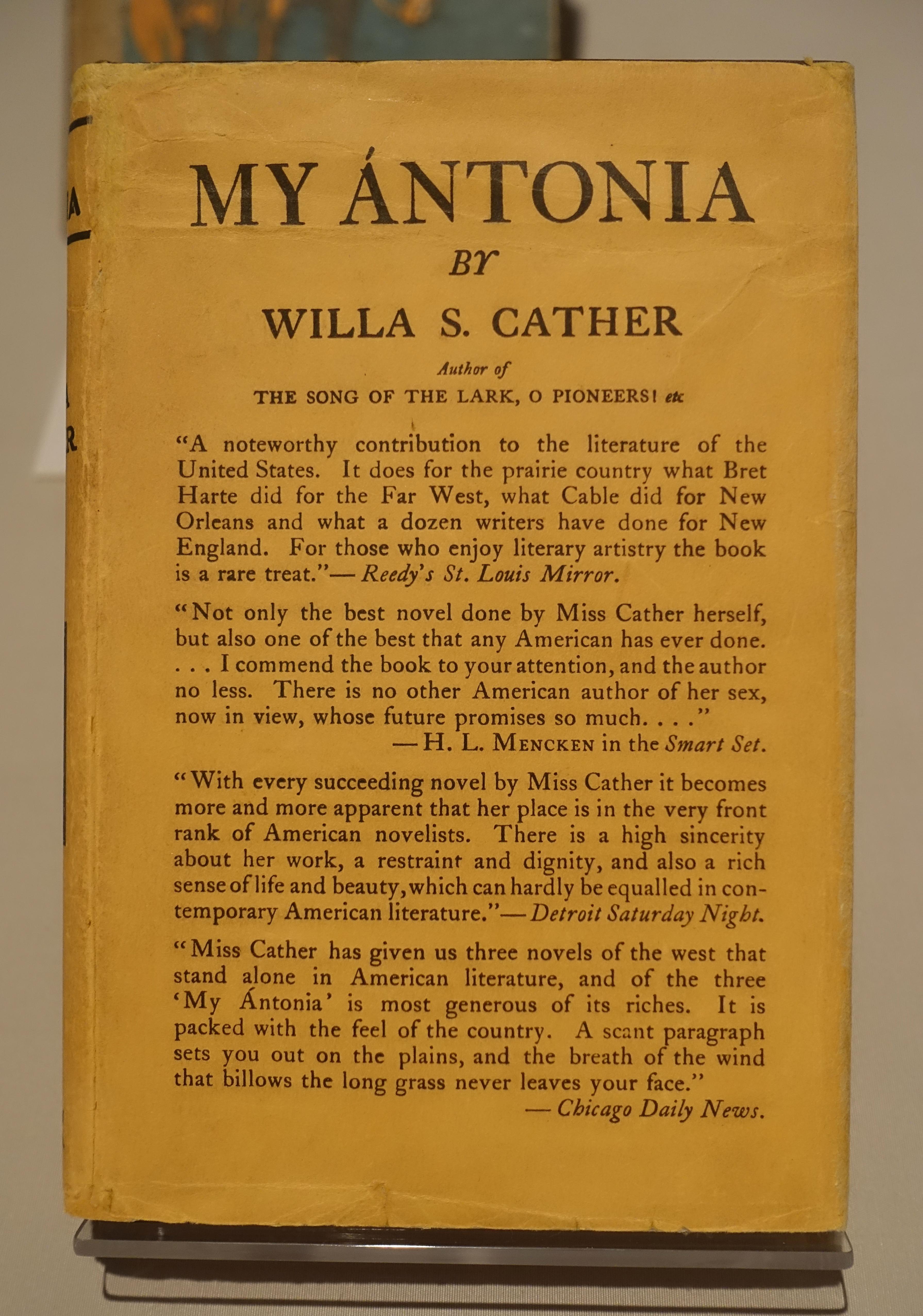 Center Line Mi >> File:My Antonia by Willa Cather, Houghton-Mifflin ...