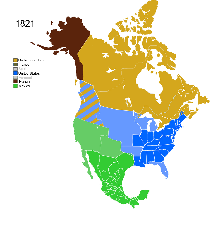 FileNonNative American Nations Control Over N America Png - Map of us in 1821