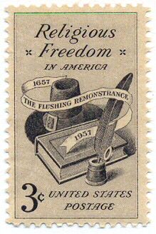 A U.S. postage stamp commemorating religious freedom and the Flushing Remonstrance ReligiousFreedomStamp.jpg