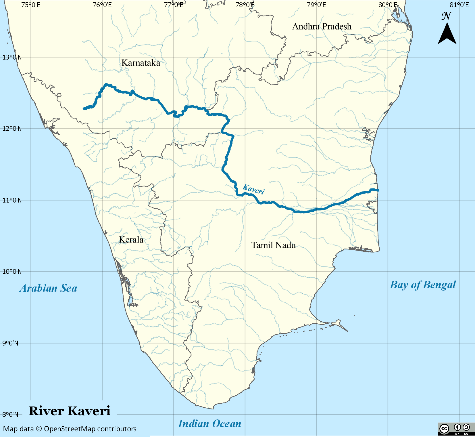 Kaveri - Wikipedia on google maps us with rivers, india political map, india on a world map, india map clip art, india map mountains, india map indus river valley, india election results map, india map 1858,