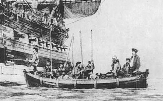 Selkirk, seated in a ship's boat, being taken aboard Duke.