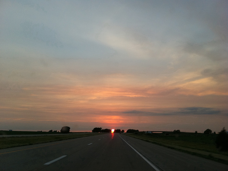File:Sunset While Driving on North Interstate 39 in Central Illinois.jpg