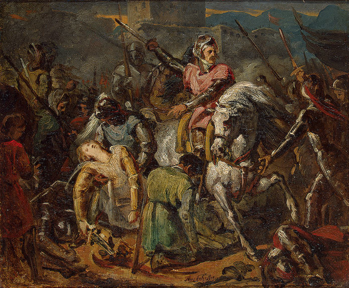 The death of French general Gaston de Foix at the Battle of Ravenna (1512).