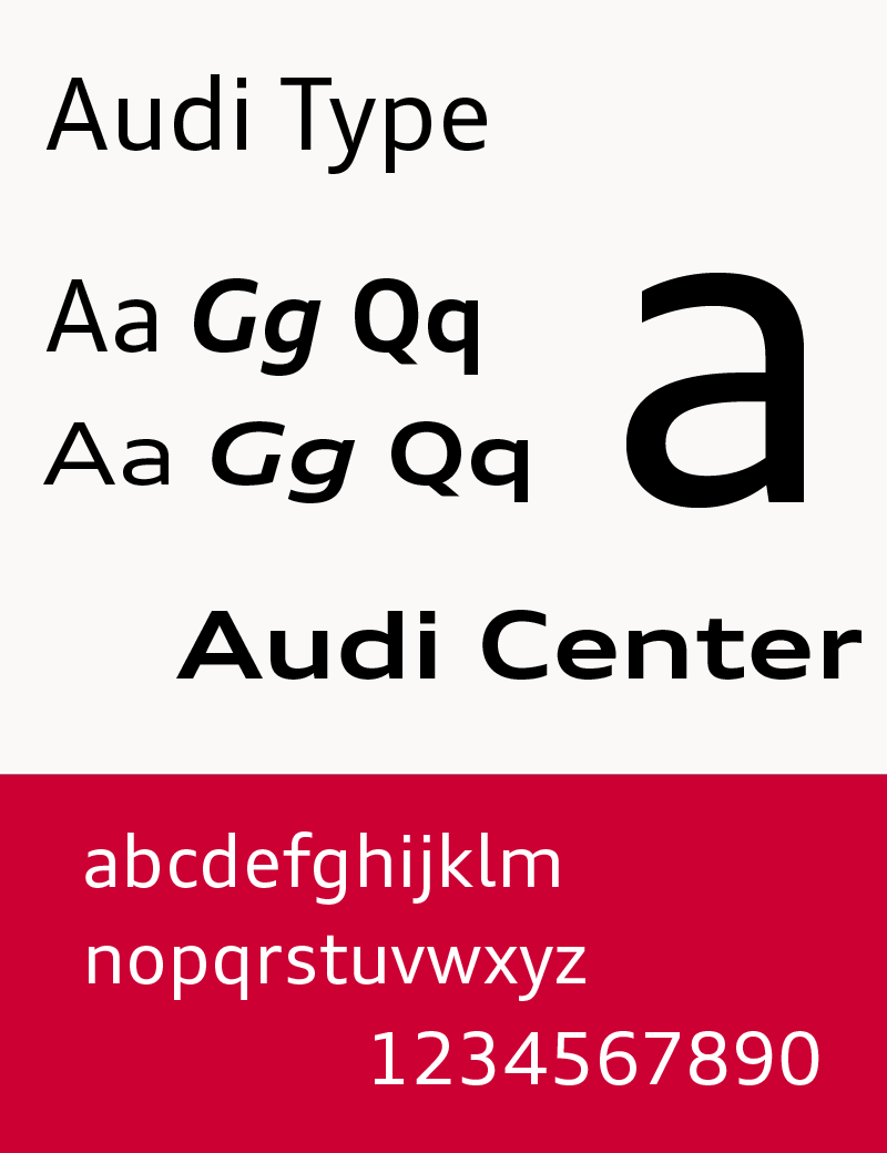The typeface Audi Type (used since 2009)