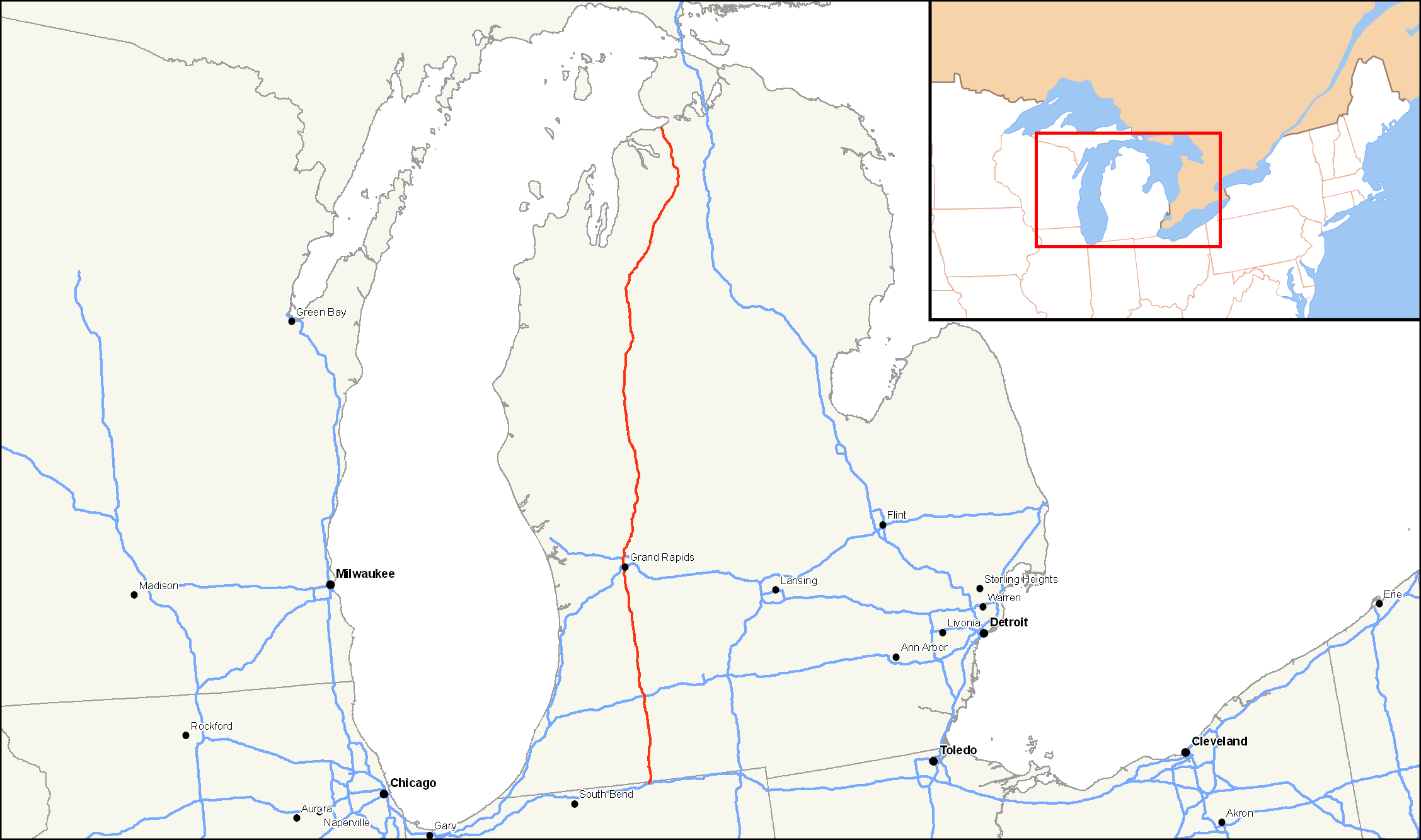 FileUS Mappng Wikimedia Commons - Us 131 map