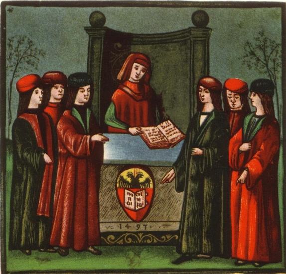 Studenţi la Universitatea din Bologna, în secolul al XV-lea