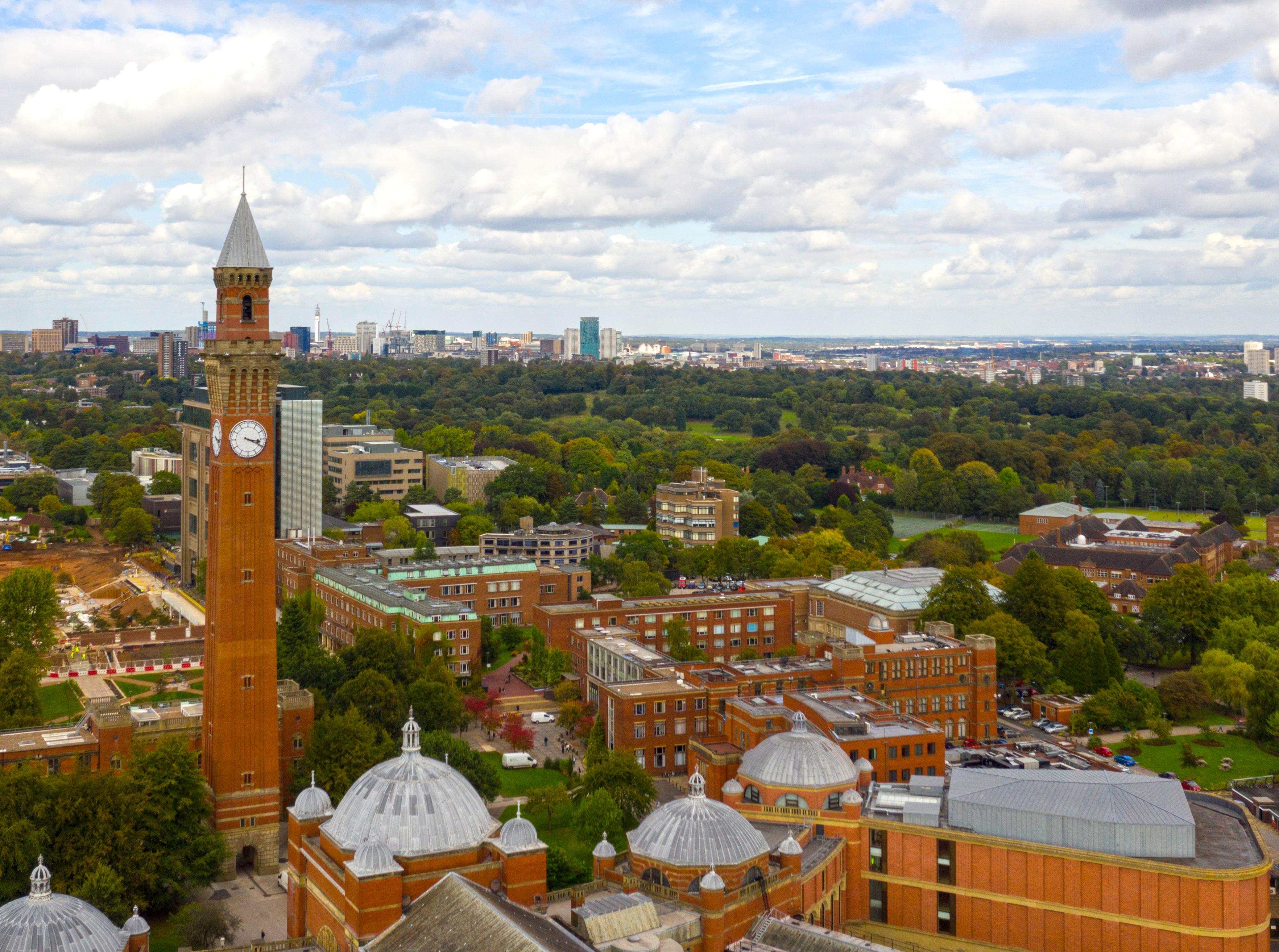 Aerial shot of the University of Birmingham and Old Joe clock tower