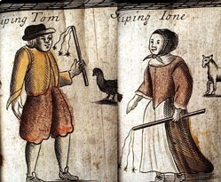 Drawing of a man and woman, each holding a three-tailed whip