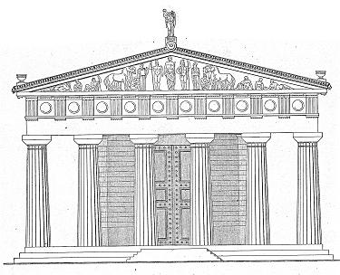 Ostfassade Des Zeustempels In Olympia Rekonstruktion
