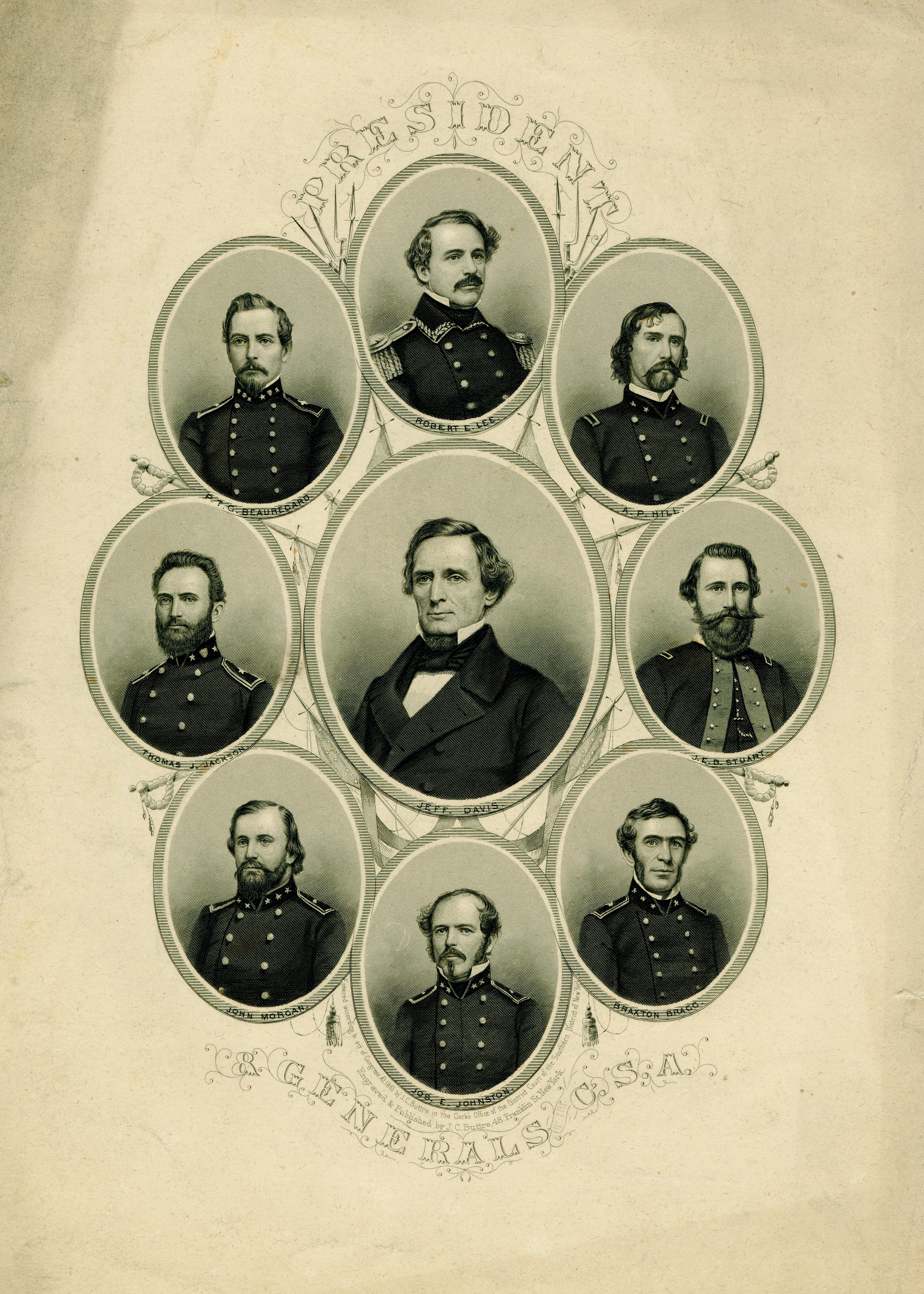 "8/"" x 10/"" Photo Print Lee Jackson etc Civil War Heroes of Confederacy Robert E"
