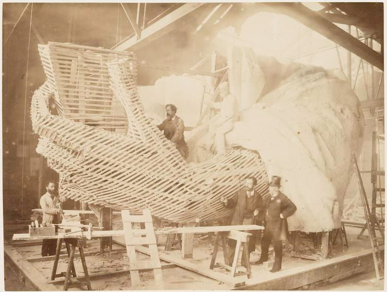 Albert Fernique, Construction of the skeleton and plaster surface of the left arm and hand of the Statue of Liberty, 1883