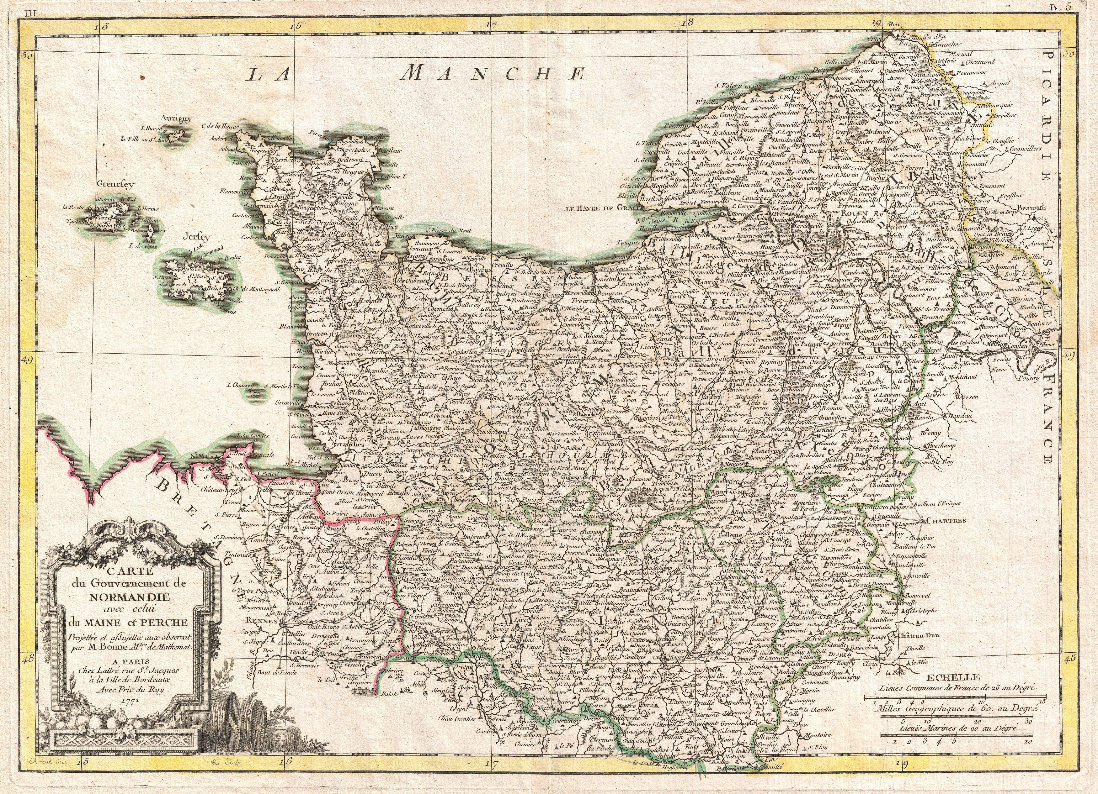 Map Of Normandy France Detailed.File 1771 Bonne Map Of Normandy France Geographicus Normandie