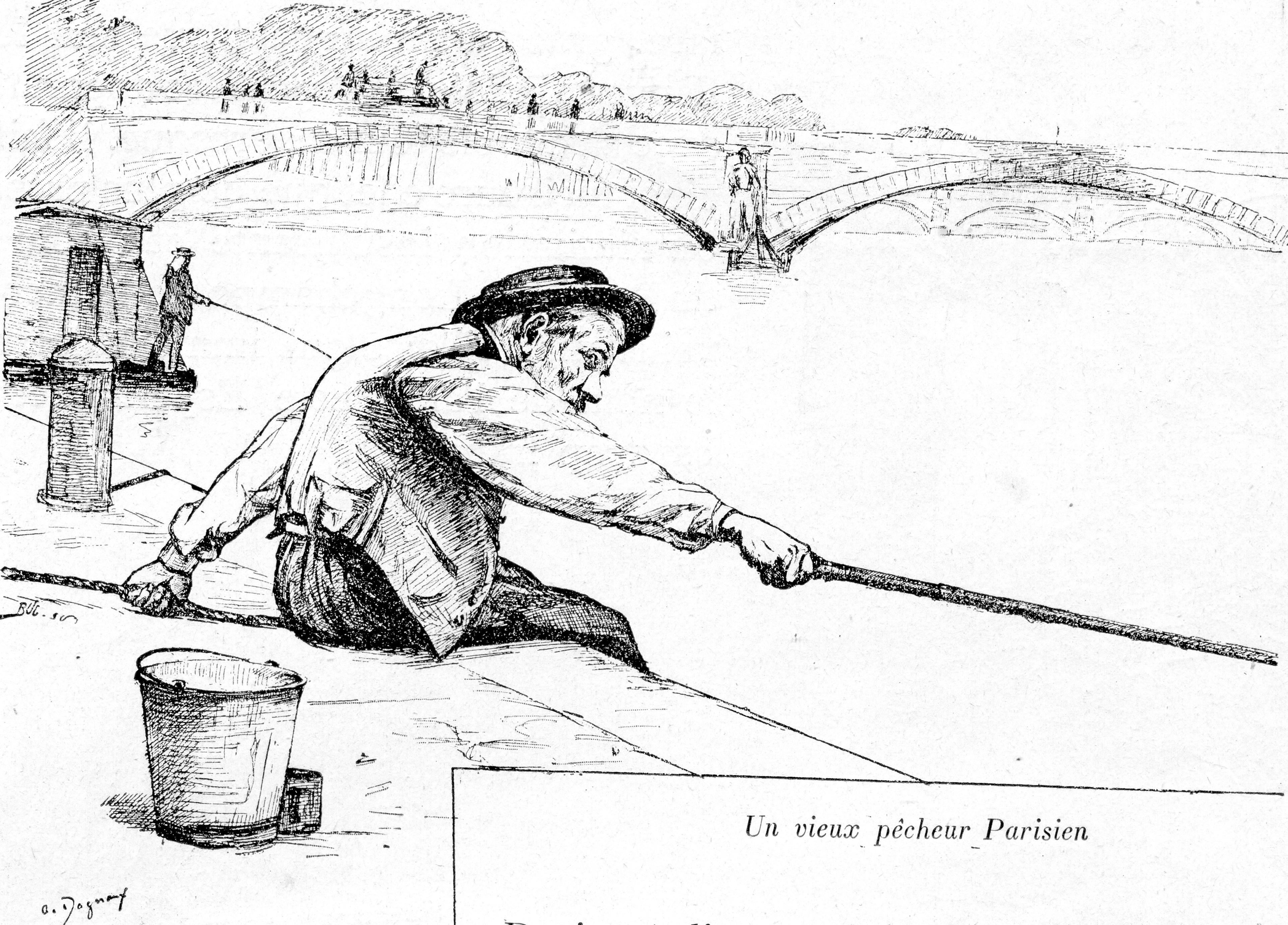 File 2 un vieux p cheur parisien dessin d 39 a dagnaux - Dessin truite ...