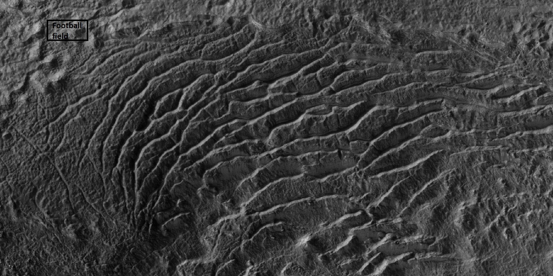 Ridges forming from cracks Box in upper left shows size of football field. Just imagine trying to hike across such a landscape.