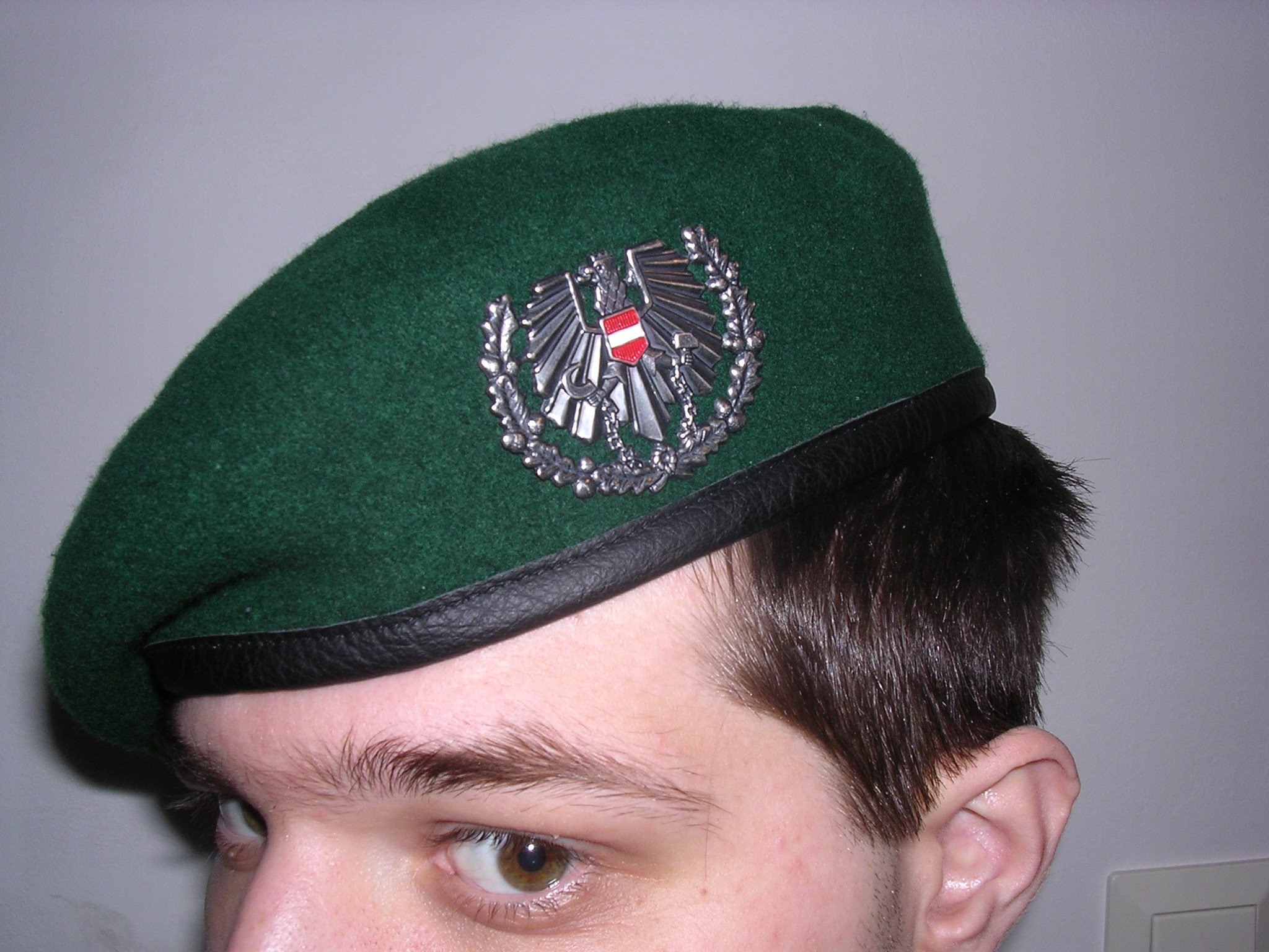 a4514d3a6f9 Austrian green beret with silver coat of arms.