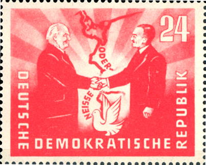 "1951 East German stamp commemorative of the Treaty of Zgorzelec establishing the Oder-Neisse line as a ""border of peace"", featuring the presidents Wilhelm Pieck (GDR) and Boleslaw Bierut (Poland) BM OderNeisse.jpg"
