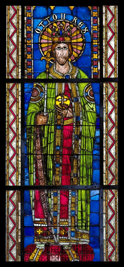 Otto II, from a series of Holy Roman emperors (12th and 13th centuries); the panels are now set into Gothic windows, Strasbourg Cathedral Bas-cote nord, baie VI Otto II Rex (dernier tiers XIIe).jpg