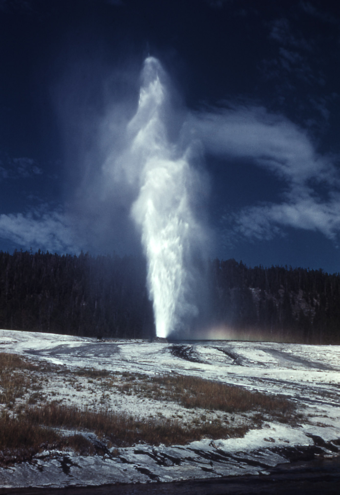 Beehive Geyser in eruption.