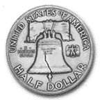 The Liberty Bell depicted on the Franklin half dollar.